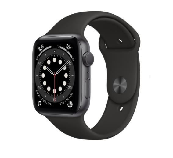 Apple Ricondizionato Smartwatch watch 6 44 mm gps cassa in alluminio grigio siderale 32 gb refurbished cinturino sport nero