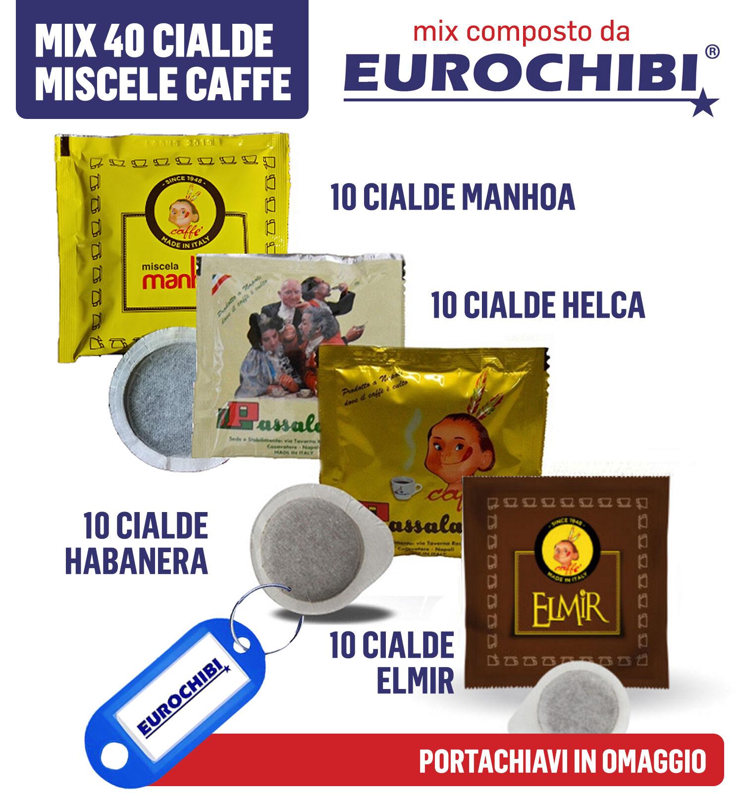 Eurochibi Mini Mix 40 Cialde Caffè Passalacqua - 10 Manhoa - 10 Helca - 10 Habanera - 10 Elmir Con 1 Esclusivo Portachiavi ®