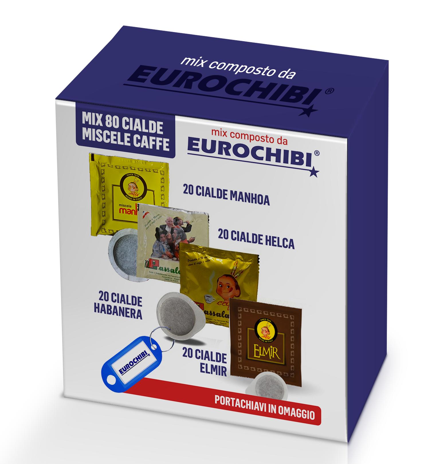 Eurochibi Mix 80 Cialde Caffè Passalacqua - 20 Manhoa - 20 Helca - 20 Habanera - 20 Elmir Con 1 Esclusivo Portachiavi ®