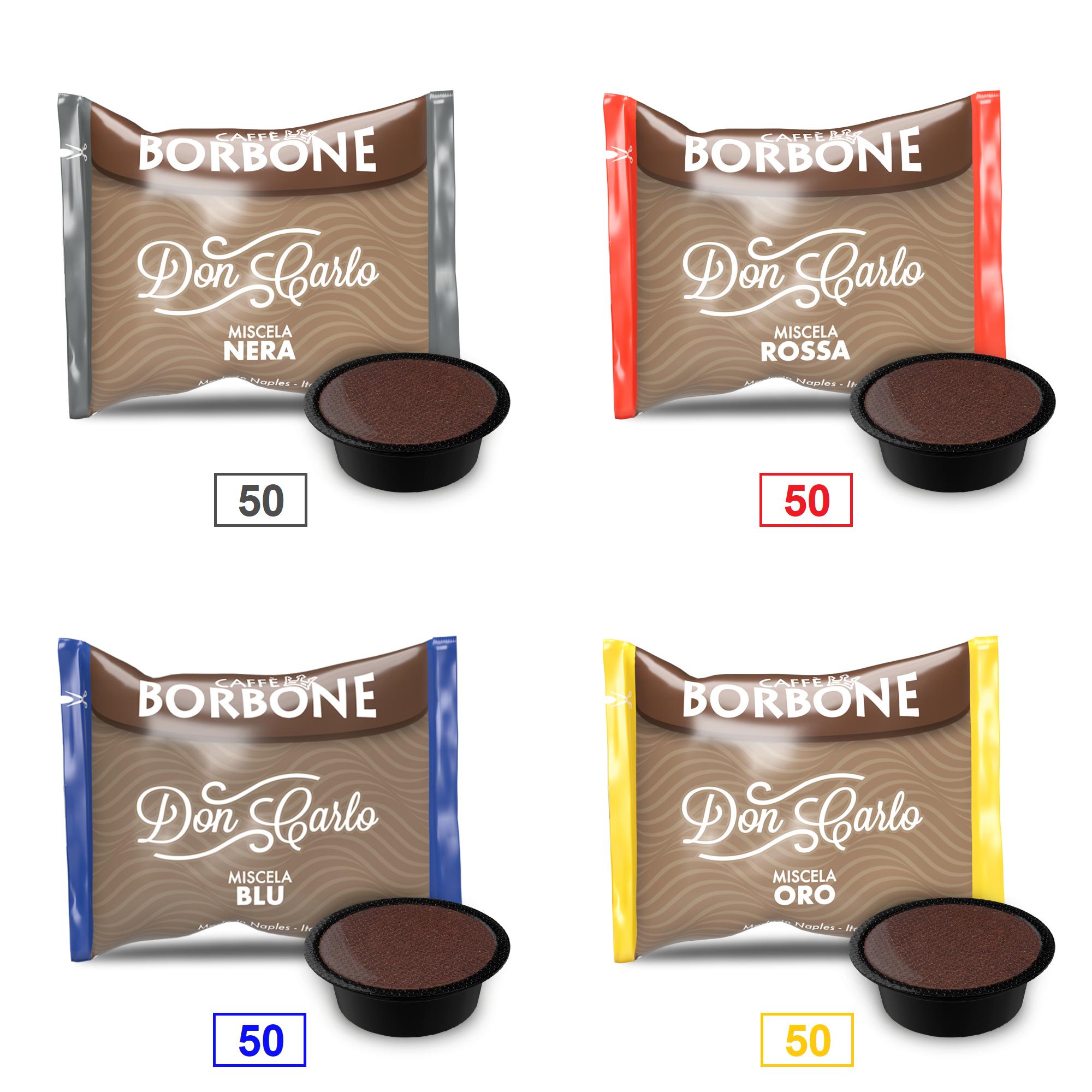 Caffè Borbone Mix 200 Capsule Don Carlo - 50 Miscela Nera - 50 Miscela Rossa - 50 Miscela Blu - 50 Miscela Oro - Compatibili A Modo Mio