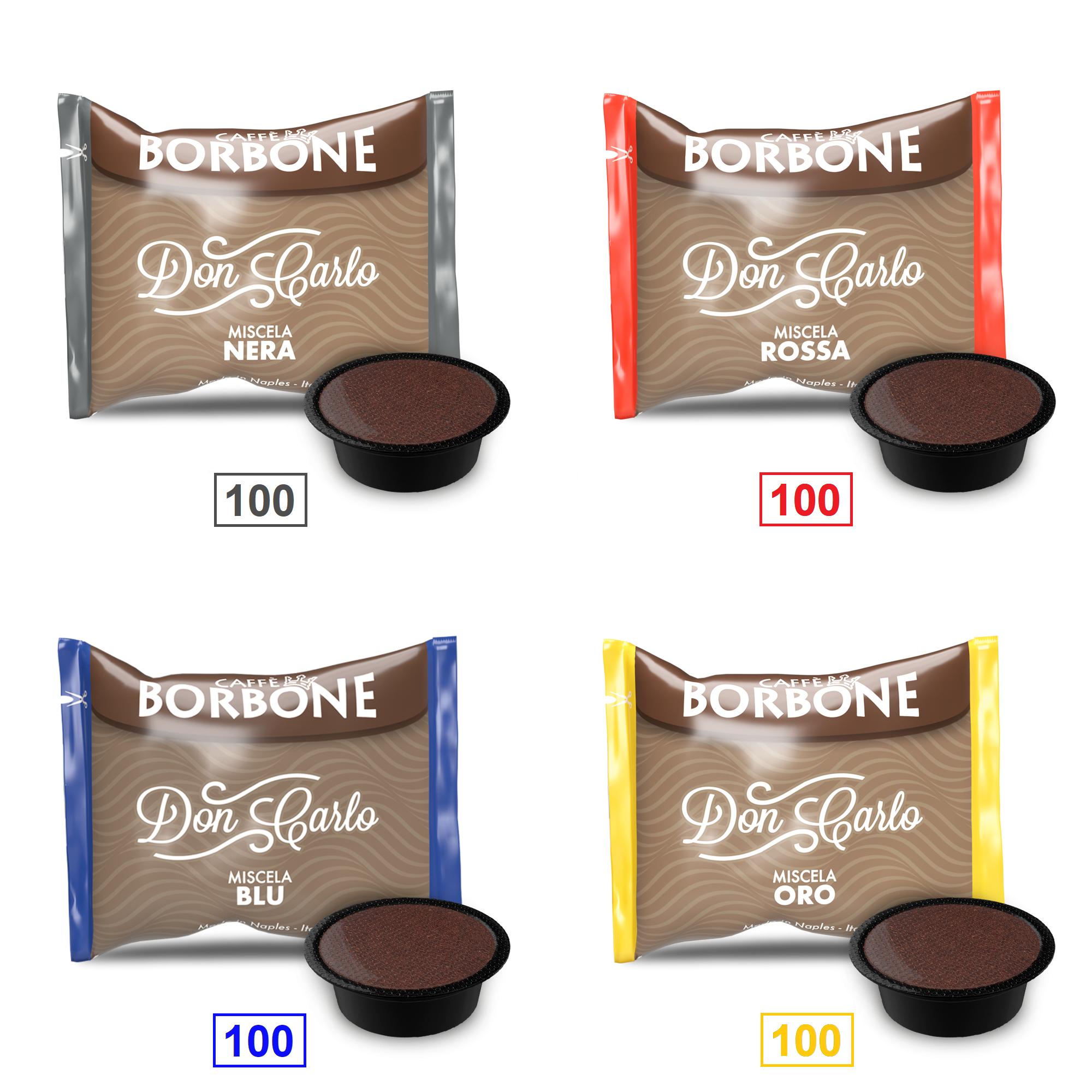 Caffè Borbone Mix 400 Capsule Don Carlo - 100 Miscela Nera - 100 Miscela Rossa - 100 Miscela Blu - 100 Miscela Oro - Compatibili A Modo Mio