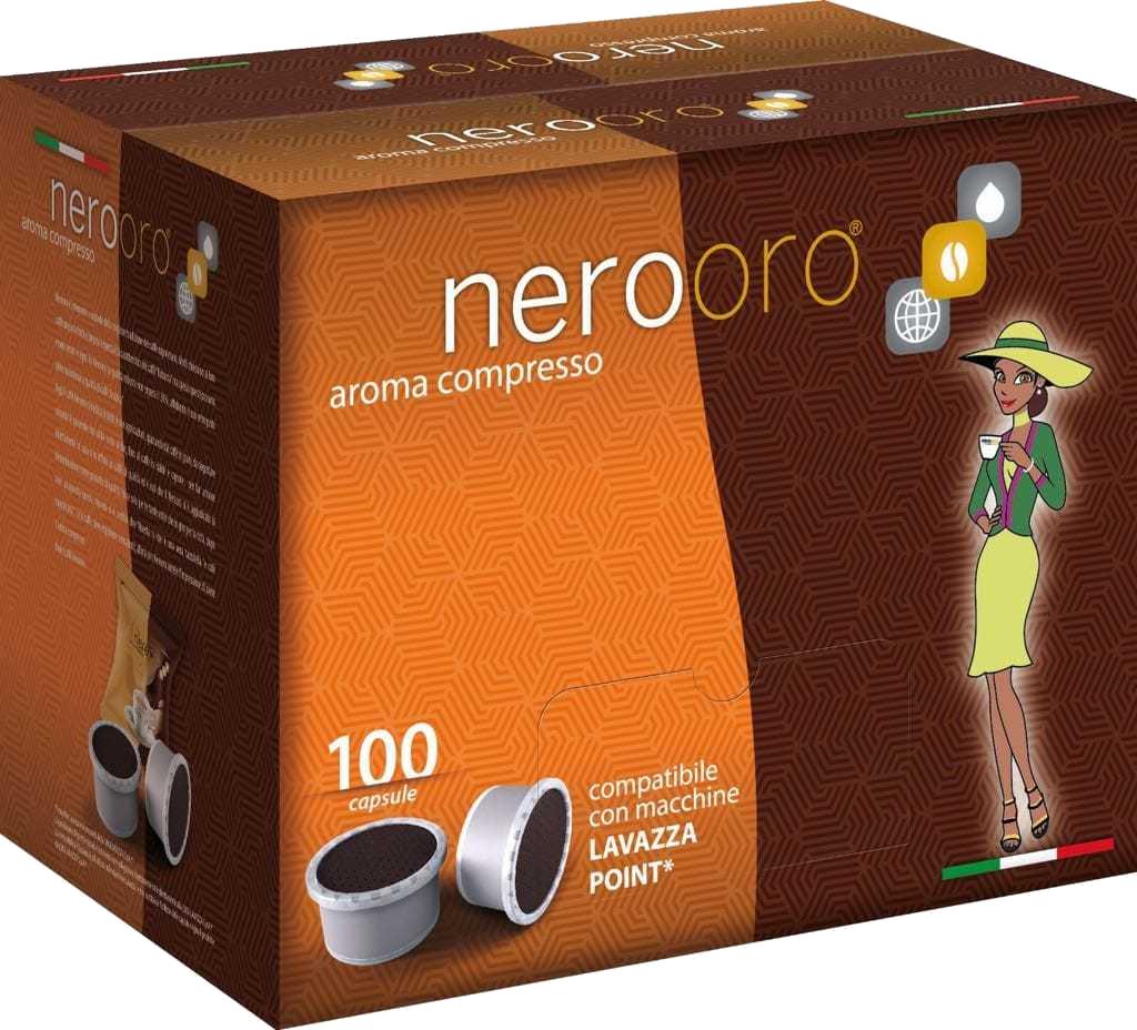 Nerooro Caffè - Miscela Oro - Box 100 Capsule Compatibili Espresso Point Da 7g