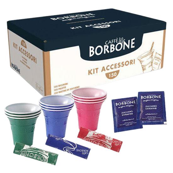 Caffè Borbone Kit Accessori Caffè Con 150 Bustine Di Zucchero + 150 Bicchierini + 150 Palettine -