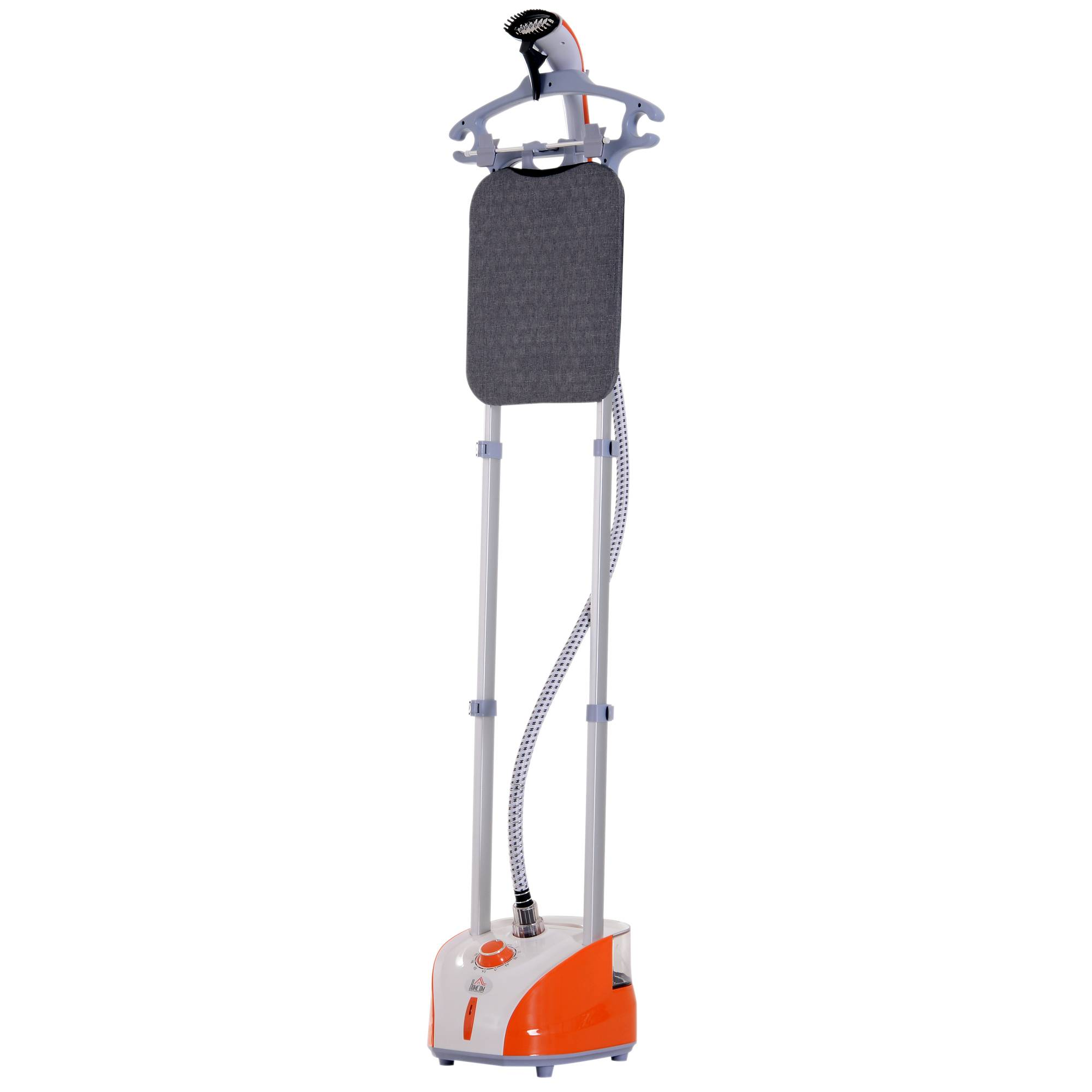 Homcom Stiratrice a Vapore Verticale Capacità 2L, Arancione e Grigio