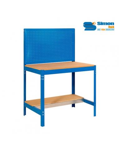 simon rack banco da lavoro con pannello forato bt2 1200 misure 1445x1210x610 mm senza viti 2 ripiani in legno portata 650 kg