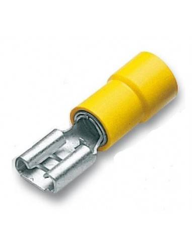 cembre capicorda preisolato 6,35x0,8 ad innesto femmina giallo  gf-f608 confezione 100 pz
