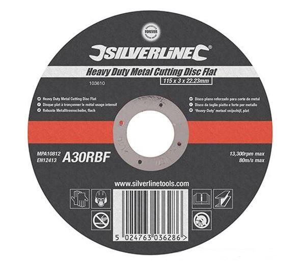 Silverline Disco Da Taglio Piatto 115x3x22,23 Per Metallo A Sollecitazione Severa A30rbf