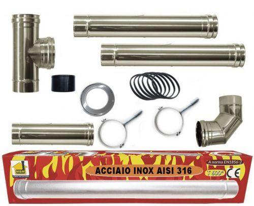 mbm kit inox tubi canna fumaria stufa pellet dn 80 tubo acciaio 316 no nero 600 c...