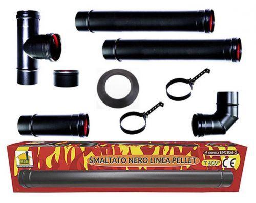 mbm kit tubi stufa a pellet canna fumaria dn 80 tubo acciaio smaltato nero 600 ce...