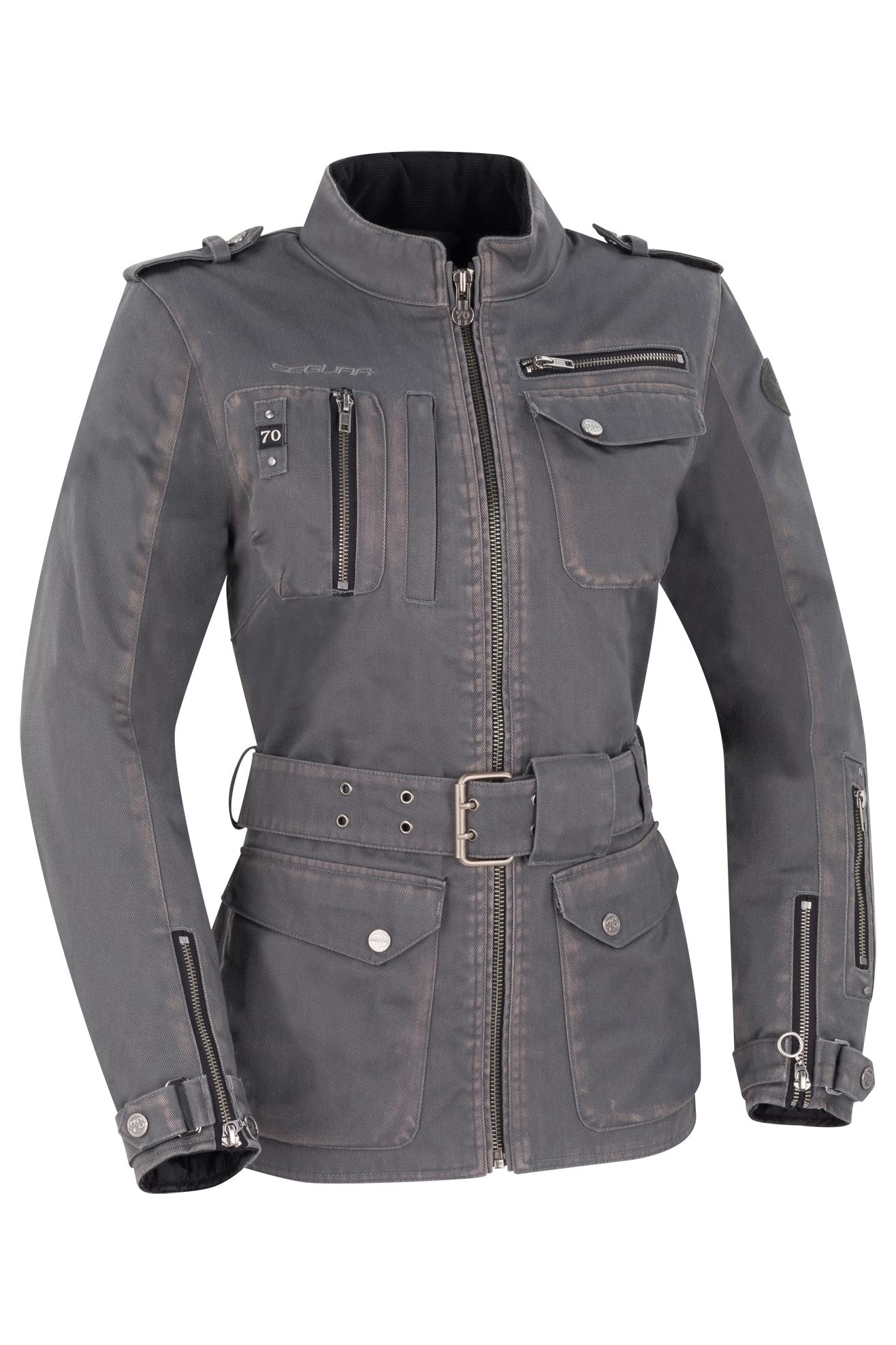segura giacca moto donna  lady woodstock grigia