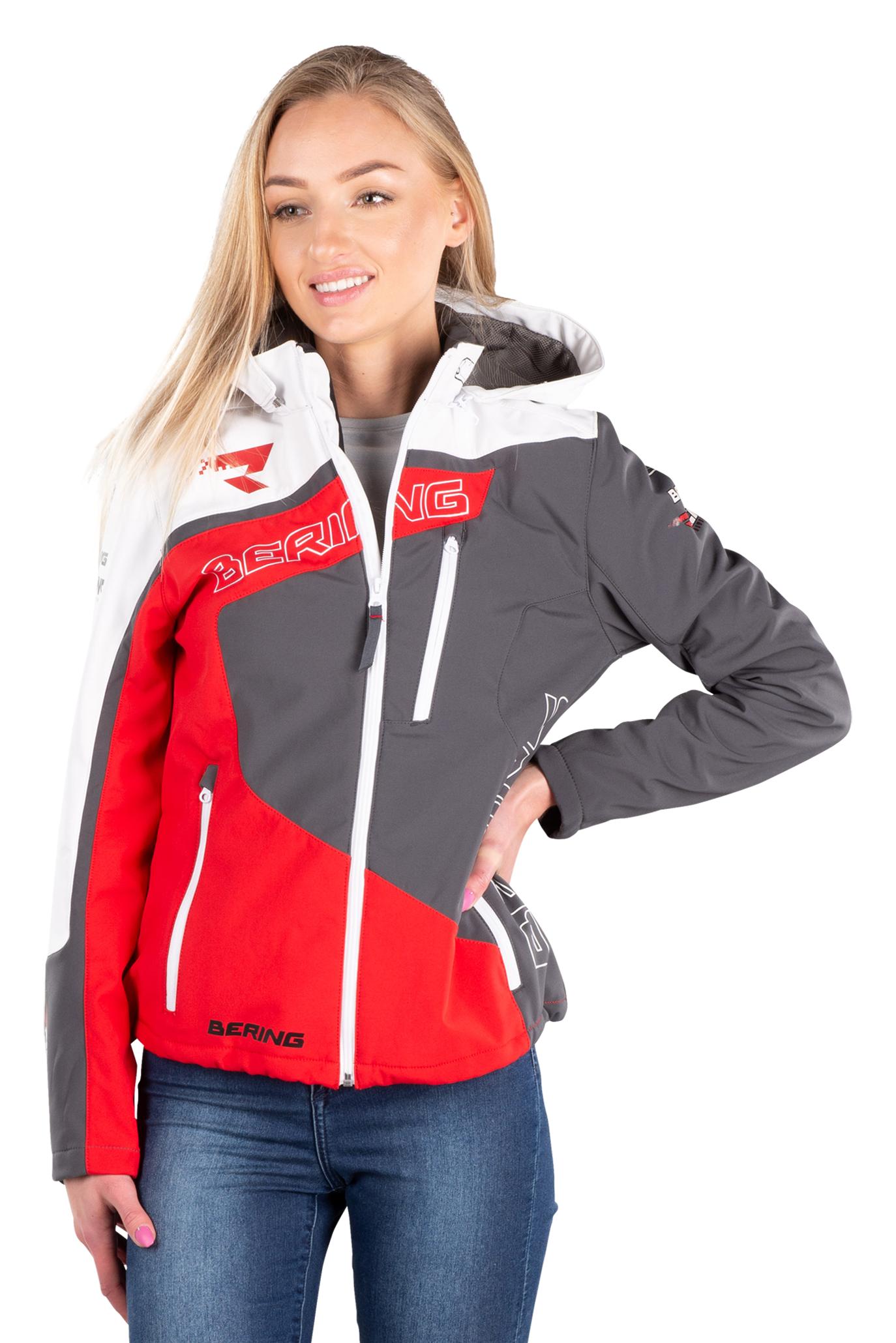 bering giacca moto donna  softshell racing bianco-rosso-nero