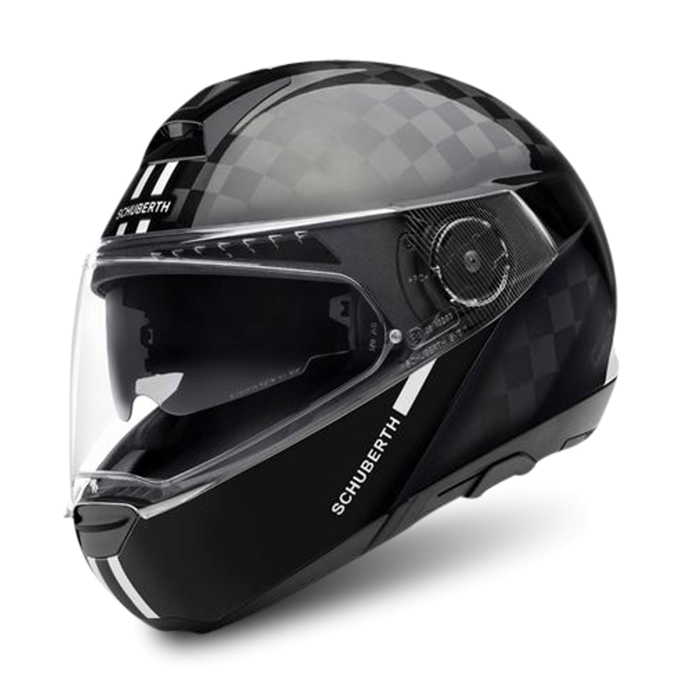 schuberth casco modulare  c4 pro carbon fusion nero-bianco