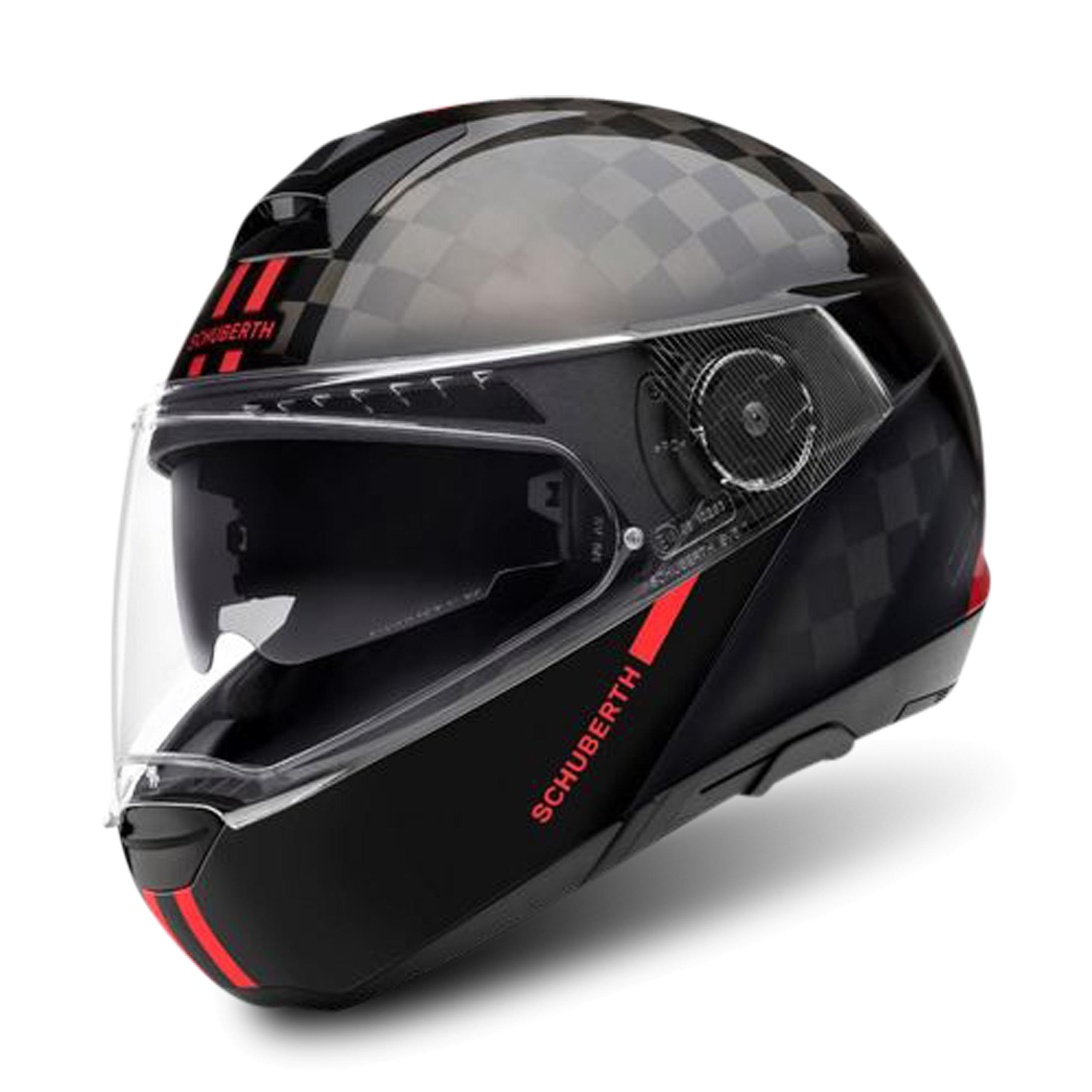 schuberth casco modulare  c4 pro carbon fusion nero-rosso