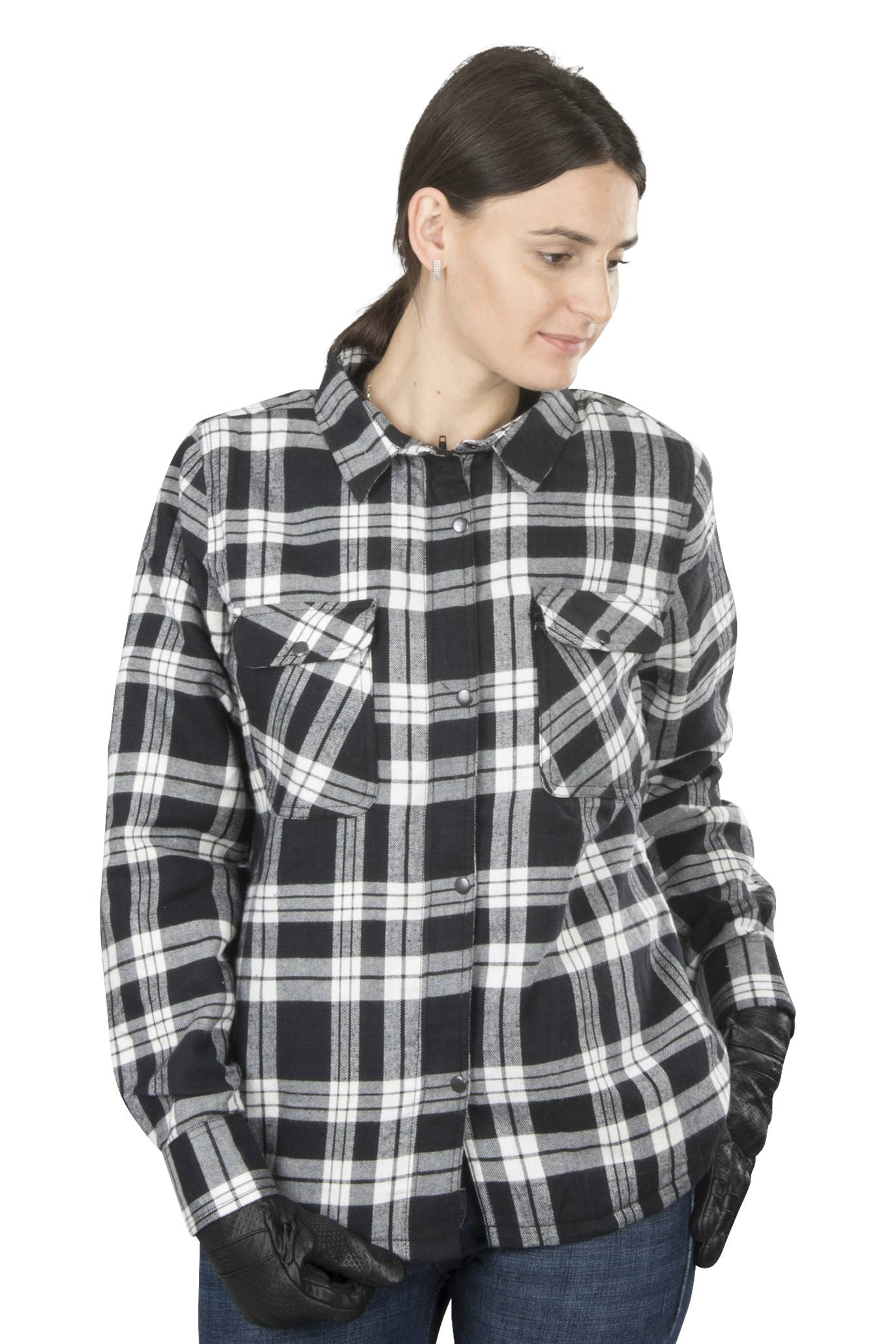 course camicia in flanella donna  aramide nero-bianco
