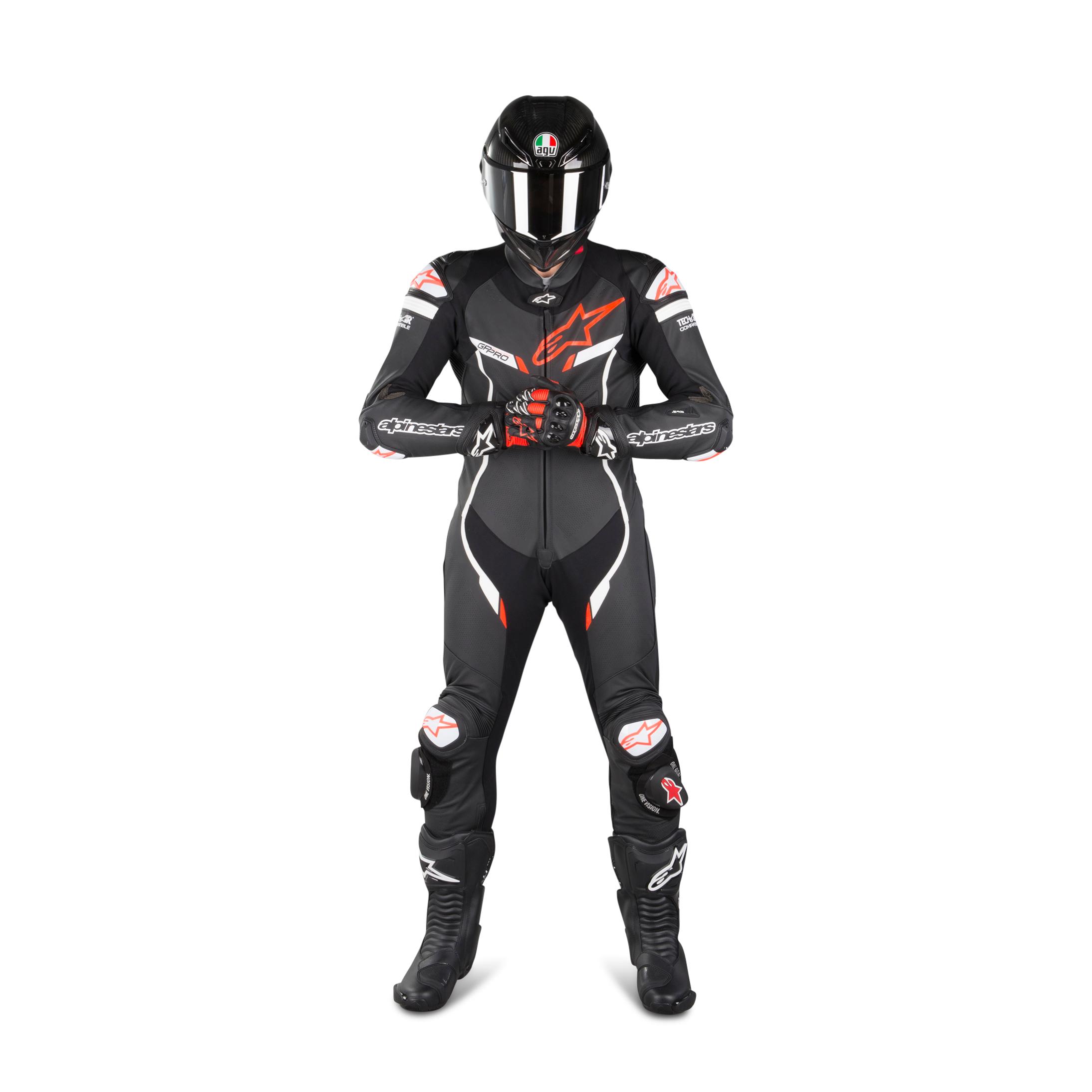 alpinestars tuta in pelle  gp pro v2 tech-air® nero-bianco