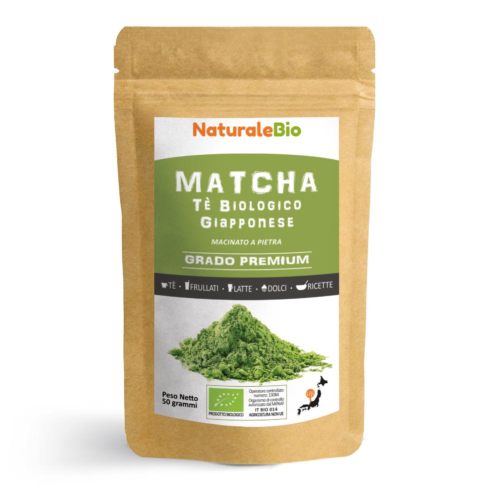 NaturaleBio Tè Verde Matcha Biologico in Polvere [ GRADO PREMIUM ] da 50 grammi