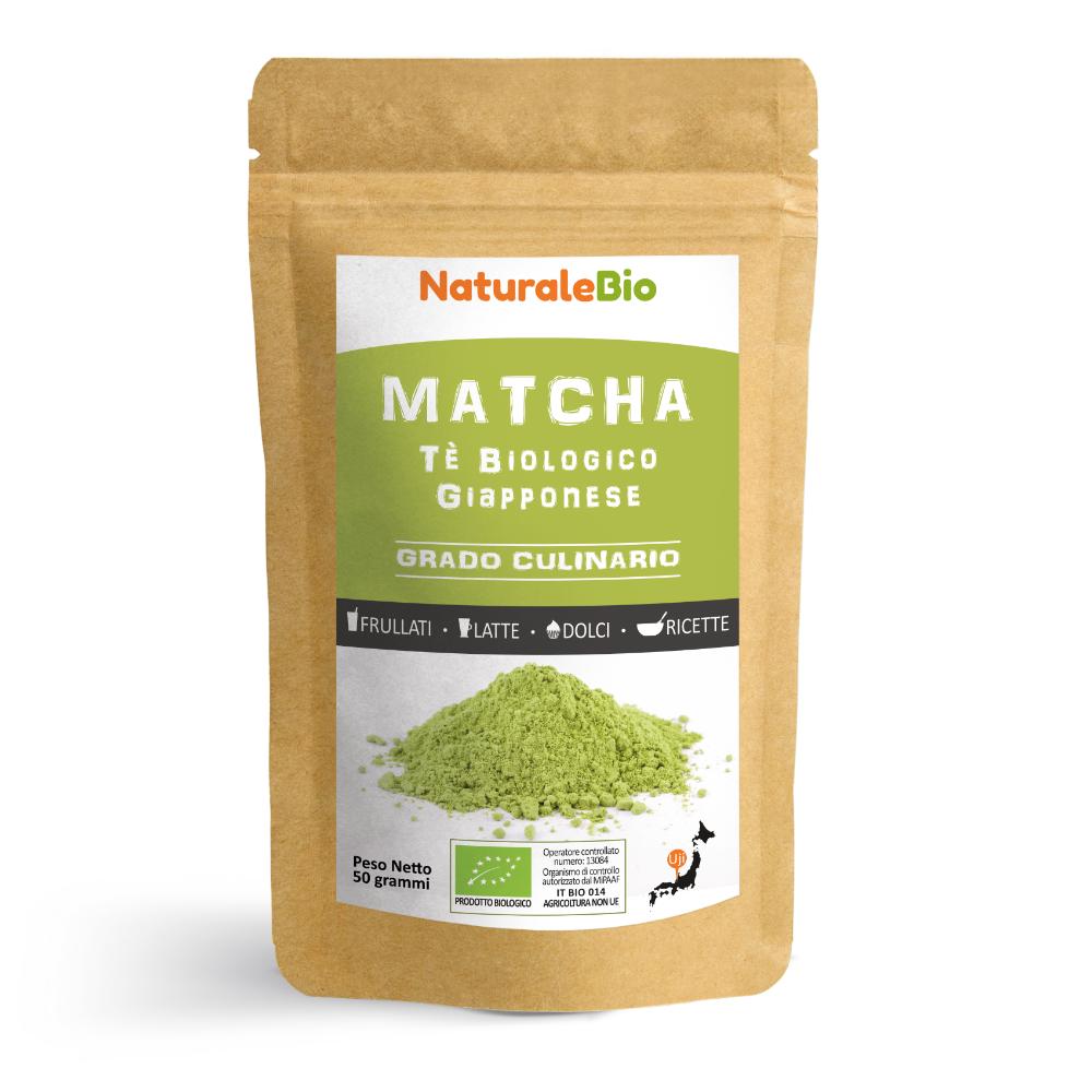 NaturaleBio Tè Verde Matcha Biologico in Polvere [ GRADO CULINARIO ] da 50 grammi