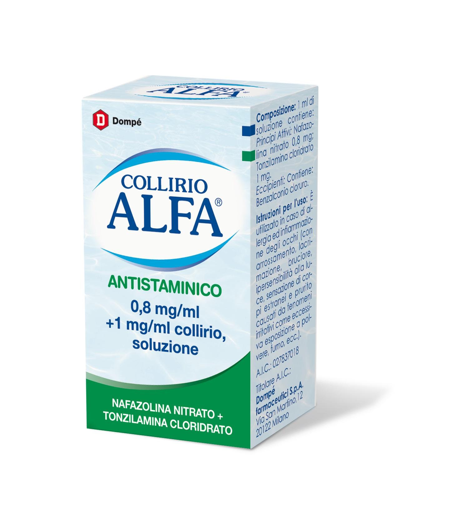 DOMPE' FARMACEUTICI SPA Collirio Alfa Antistaminico*collirio 10 Ml 8 Mg/ml + 1 Mg/ml