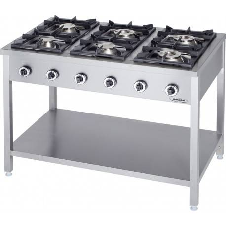 Cucina Professionale a Gas 6 Fuochi   KW 36,5 Dim cm 120x70x90h