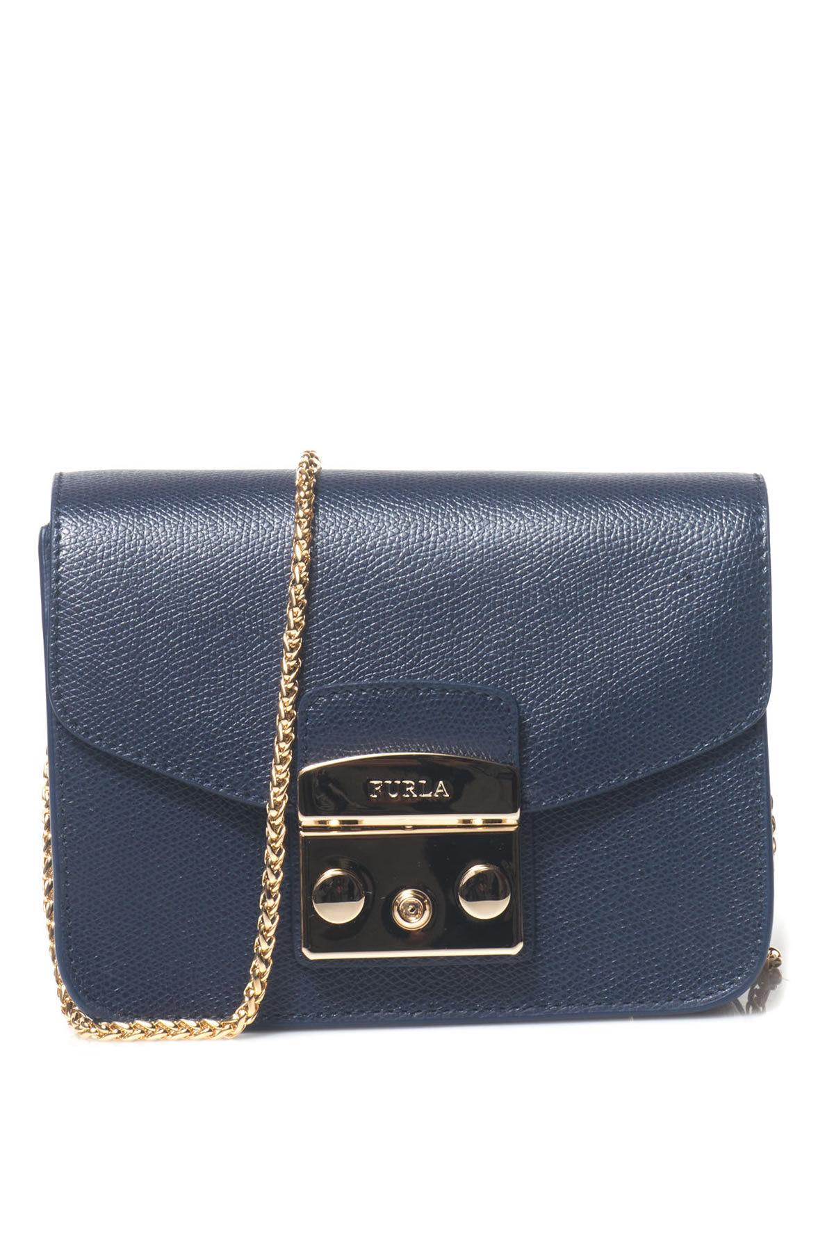 furla borsa a tracolla con catena blu donna