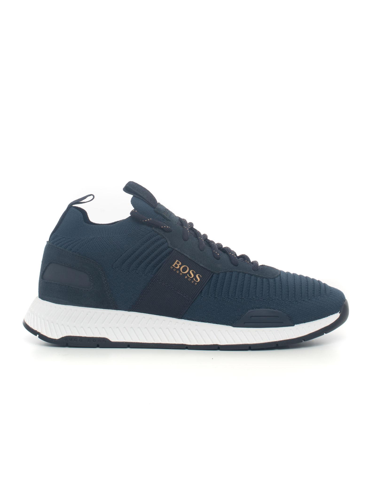 Boss Sneakers in tela Titanium Runn Blu Tela Uomo