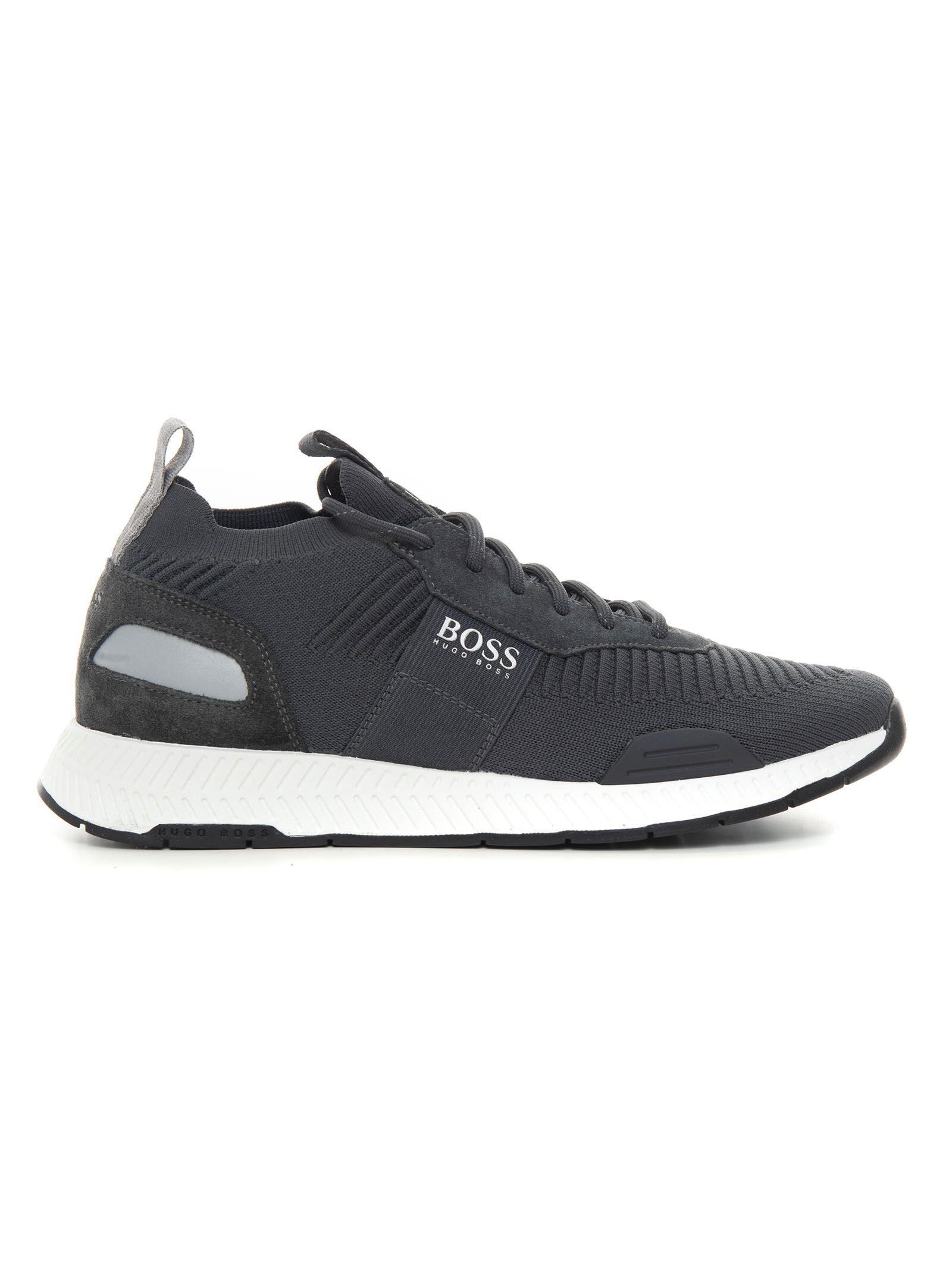 Boss Sneakers con rialzo allacciata Titanium_Runn_Knst1 Grigio scuro Uomo