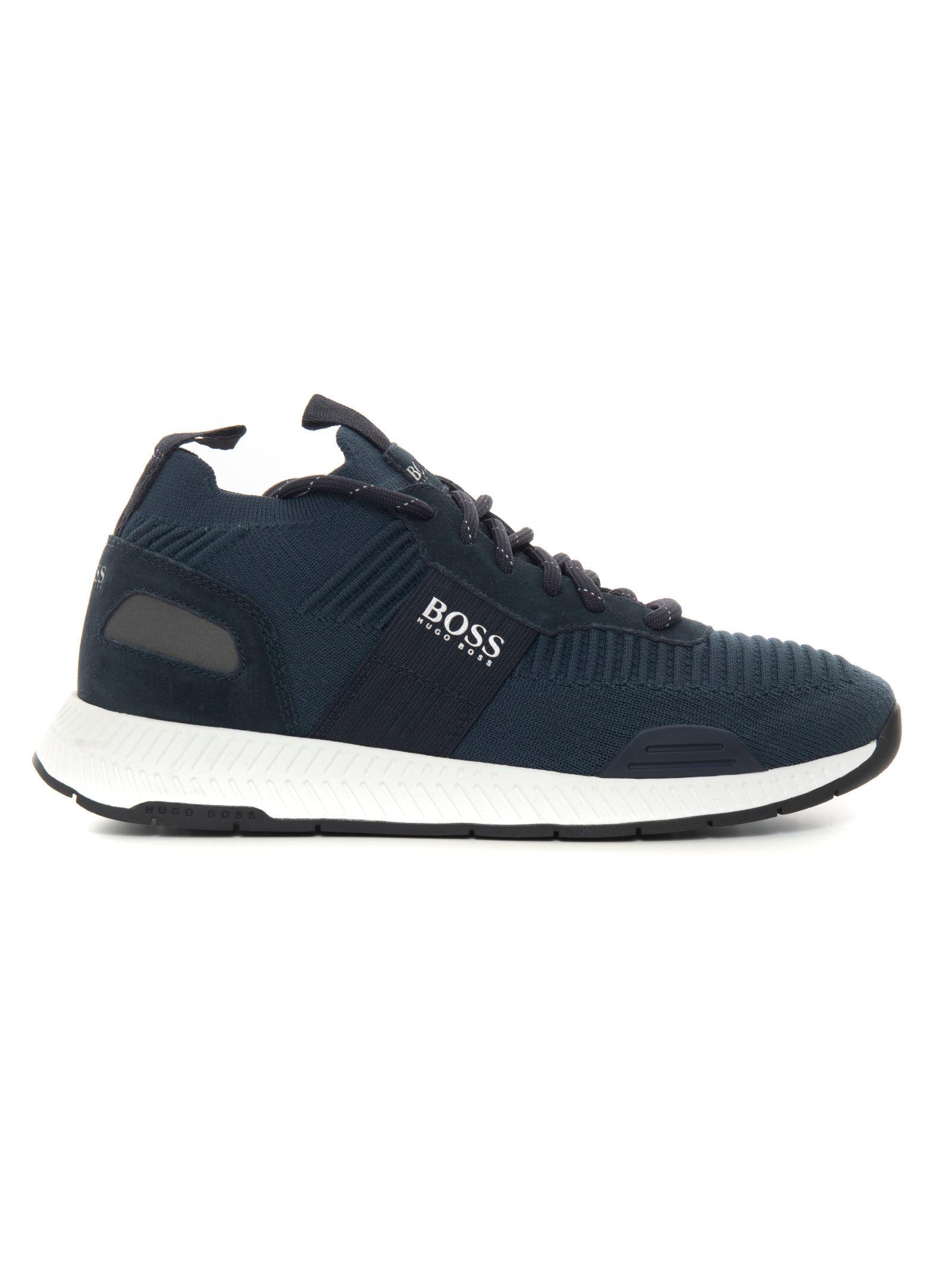 Boss Sneakers con rialzo allacciata Titanium_Runn_Knst1 Blu Uomo