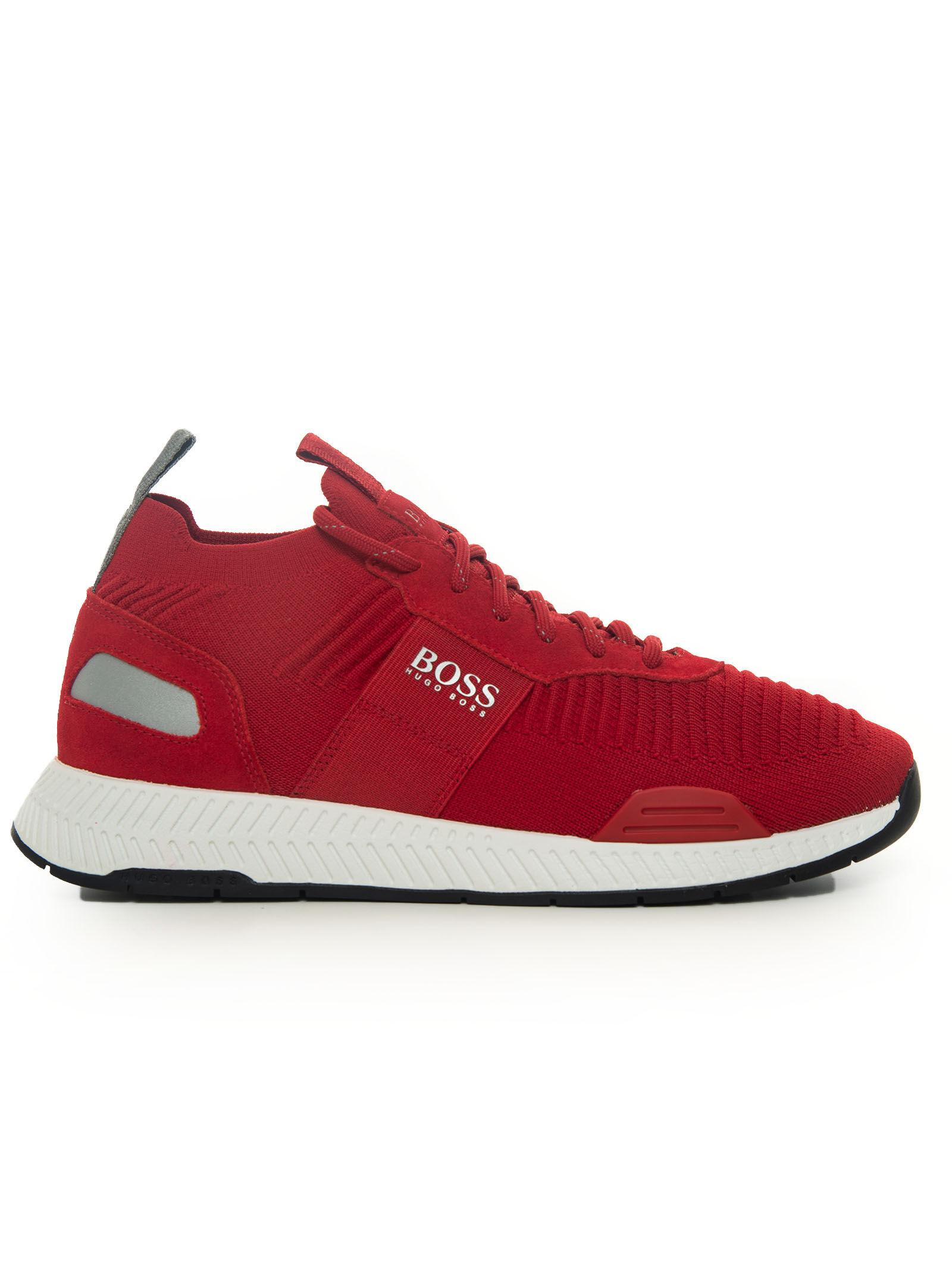 Boss Sneakers Rosso Tela Uomo