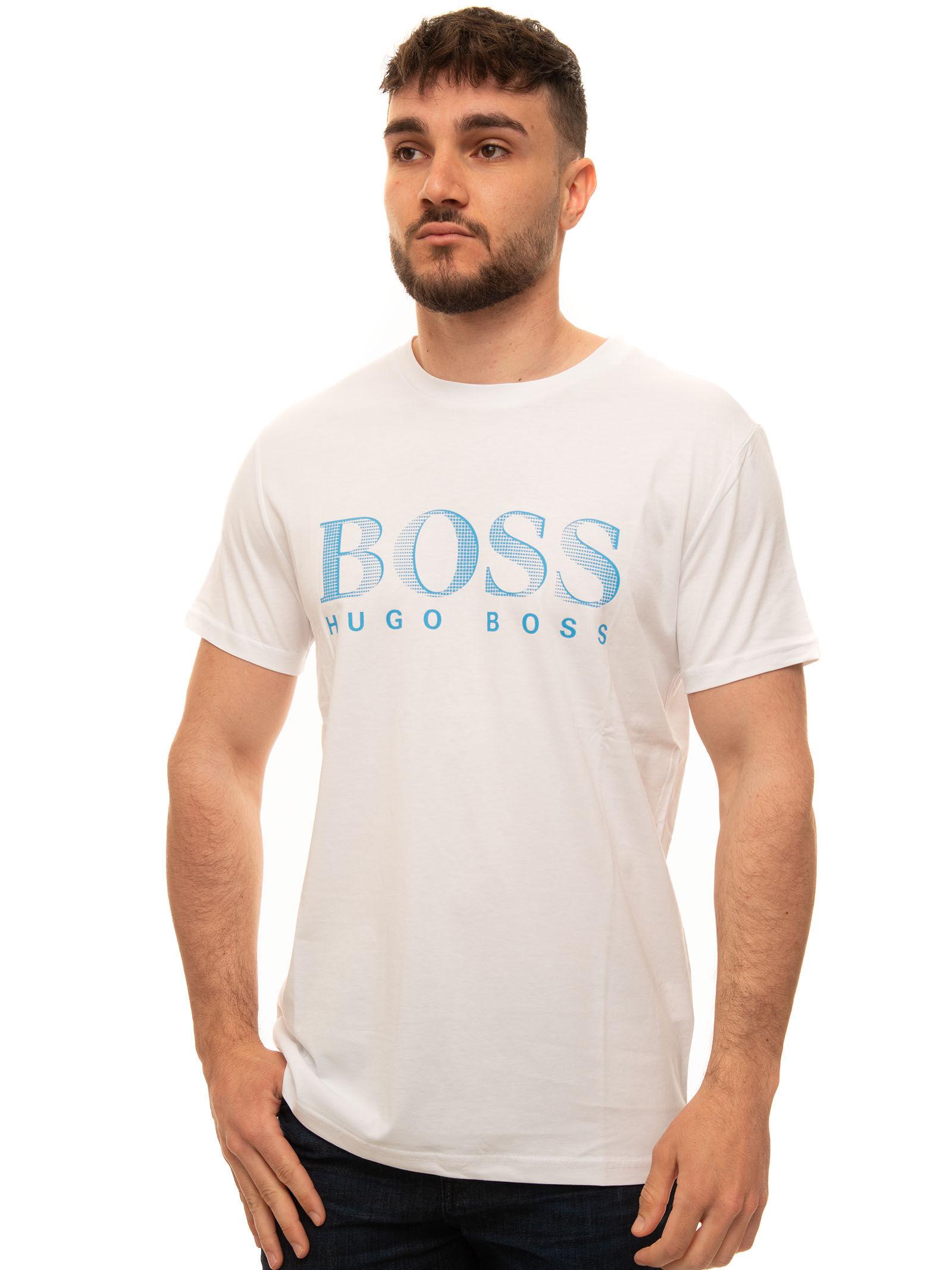 Boss T-shirt girocollo mezza manica Bianco Cotone Uomo