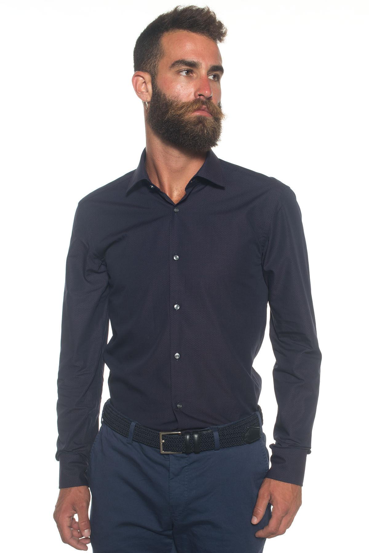 Boss Camicia classica da uomo Blu/bordeau Cotone Uomo