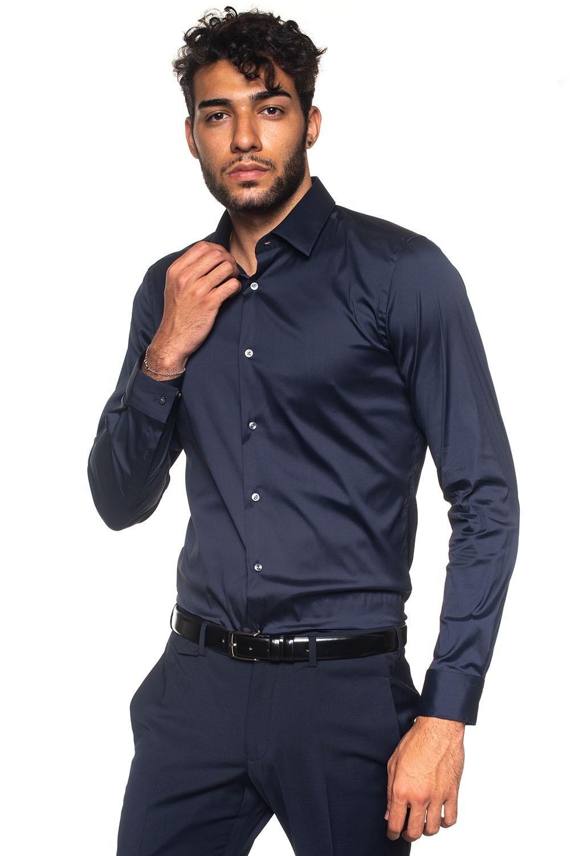 Boss Camicia classica da uomo Herwing Blu Cotone Uomo