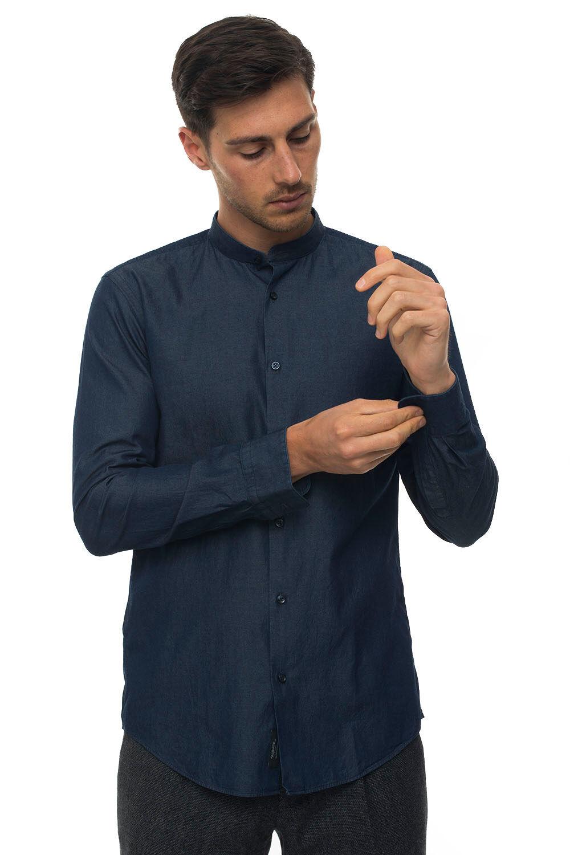 Boss Camicia casual Denim scuro Cotone Uomo