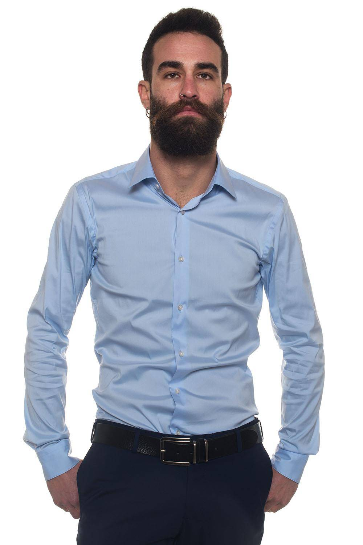 Boss Camicia classica da uomo Herwing Celeste Cotone Uomo