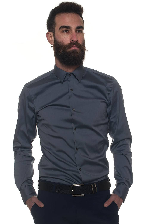 Boss Camicia casual Ilan Grigio Cotone Uomo