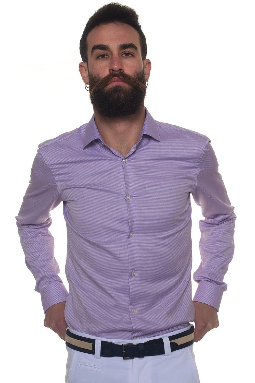 Boss Camicia casual Ismo Lilla Cotone Uomo