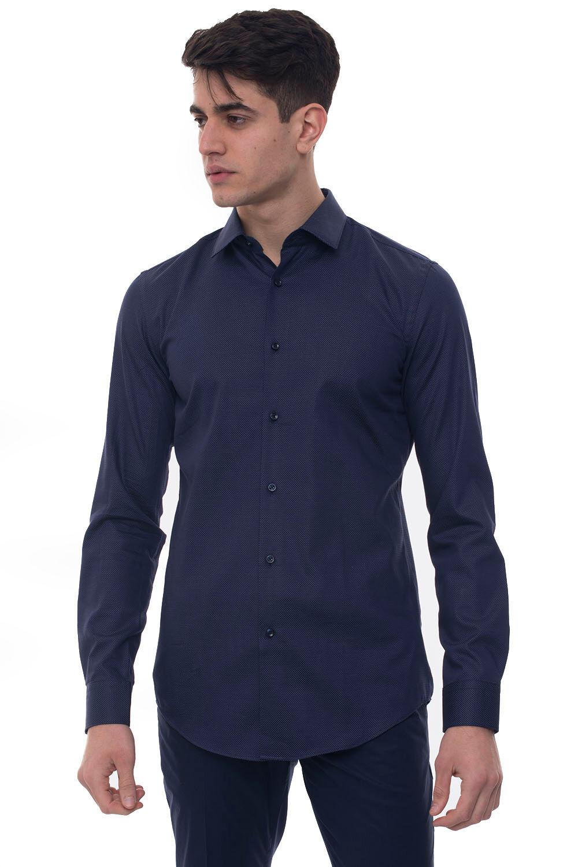 Boss Camicia casual Herwing Blu Cotone Uomo