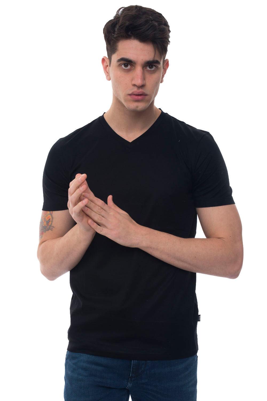 Boss T-shirt collo a V Teal 100 Nero Cotone Uomo
