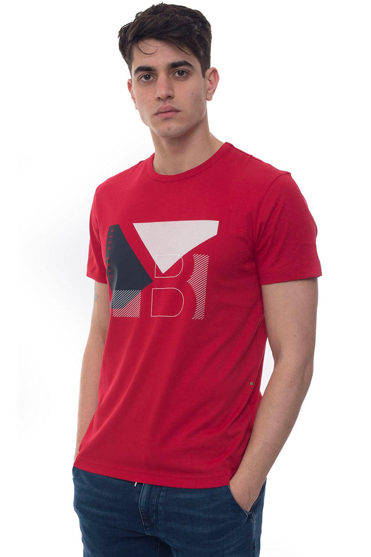 Boss T-shirt girocollo mezza manica Tee 2 Rosso Cotone Uomo