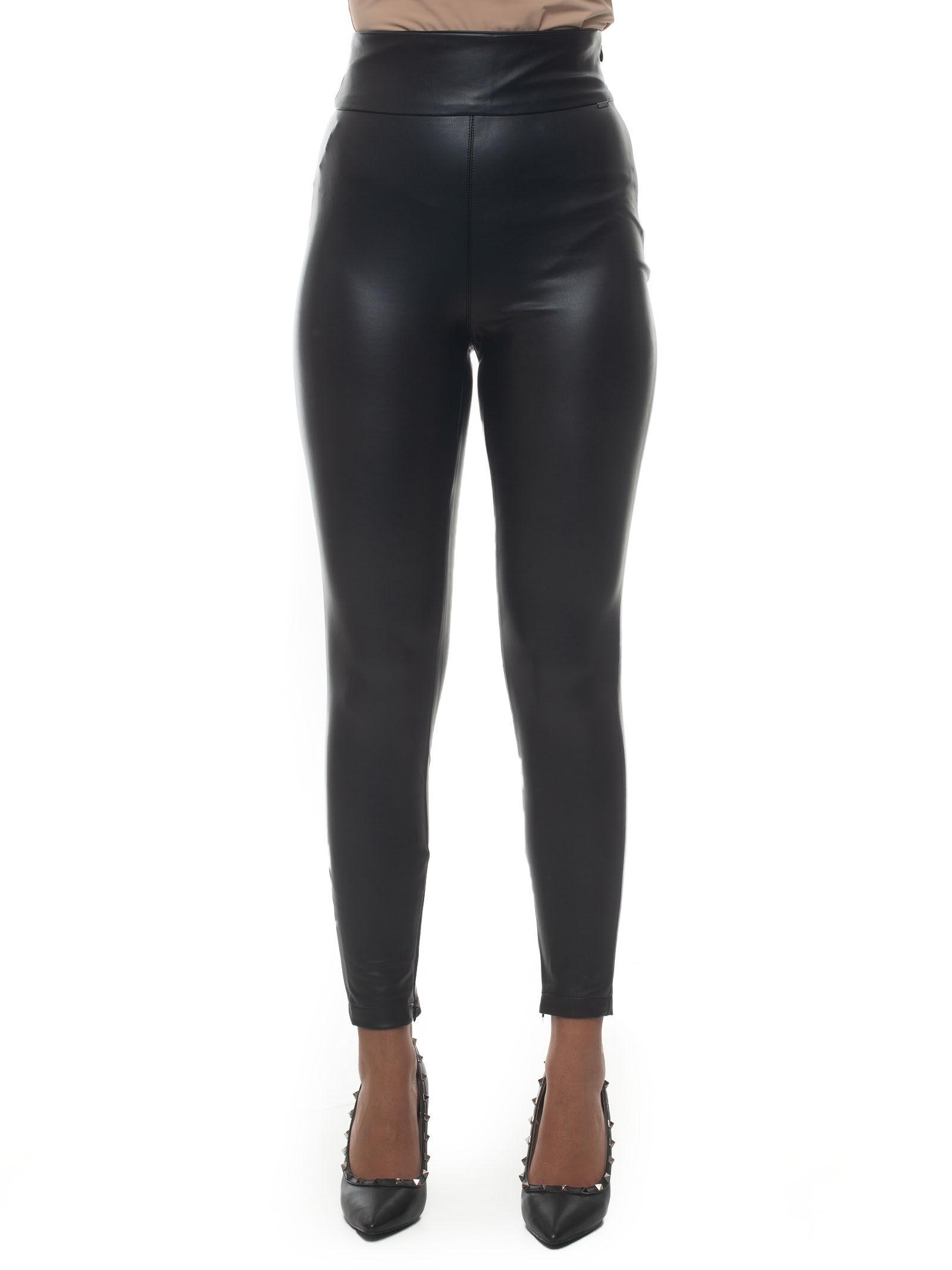 guess panta-leggins nero poliuretano donna