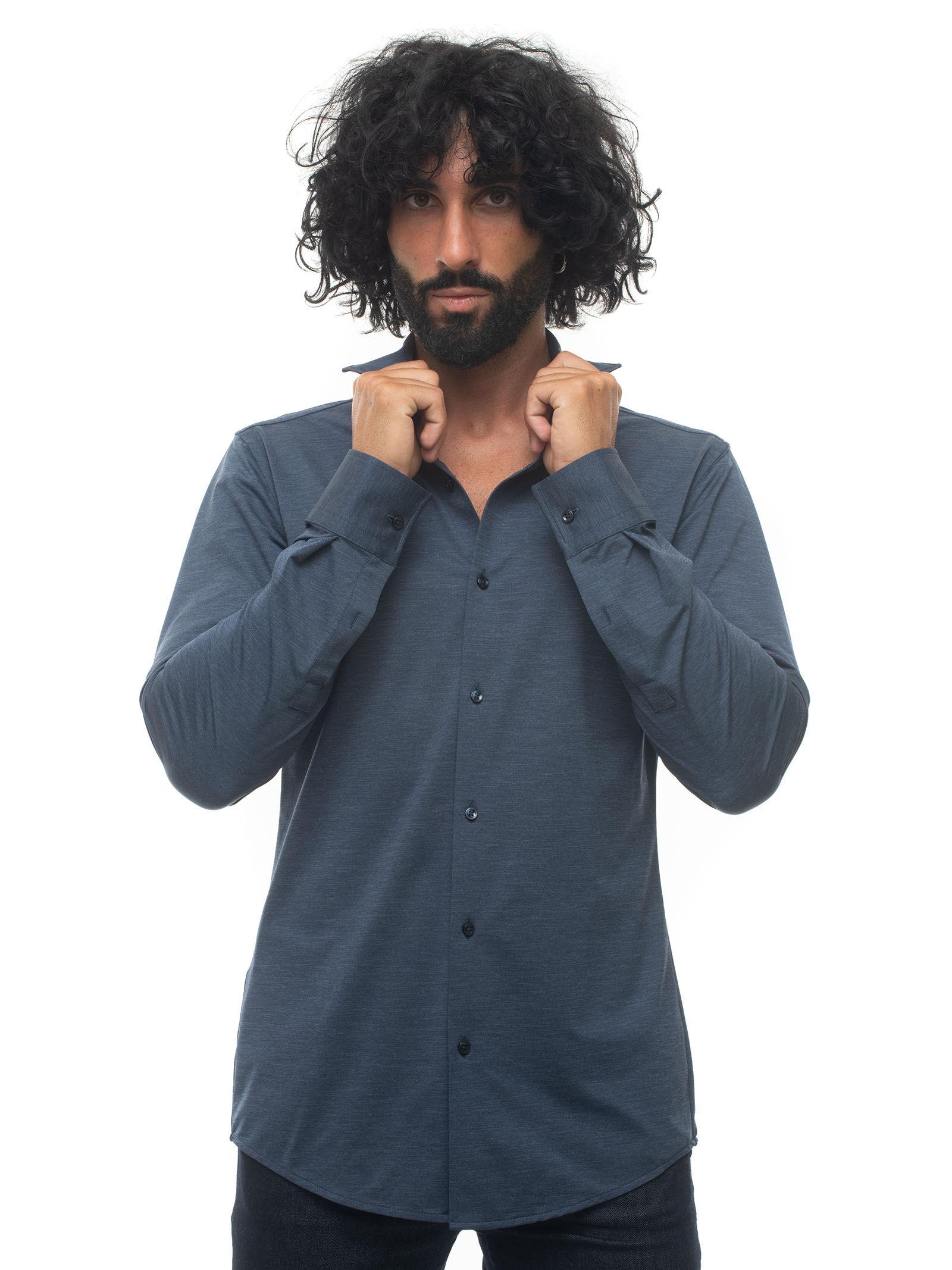Boss Camicia casual Blu denim Poliammide Uomo
