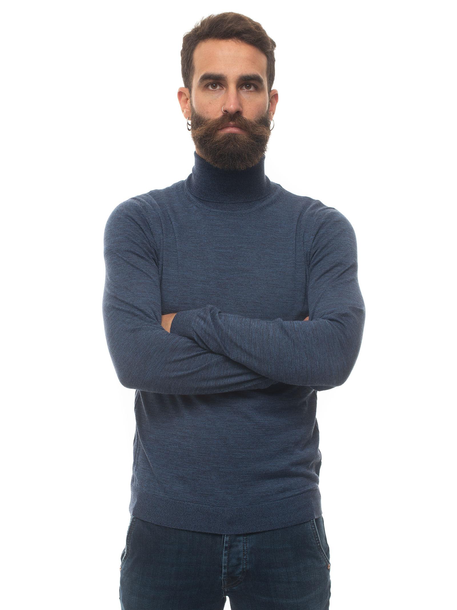 Boss Pullover collo alto Blu denim Lana Uomo