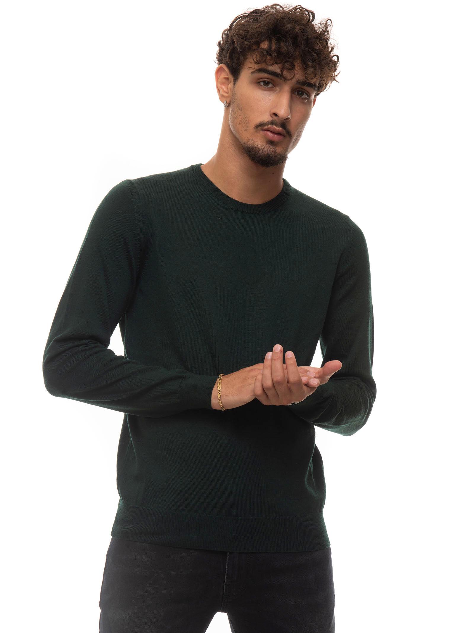Boss Pullover girocollo Botto Verde Lana Uomo