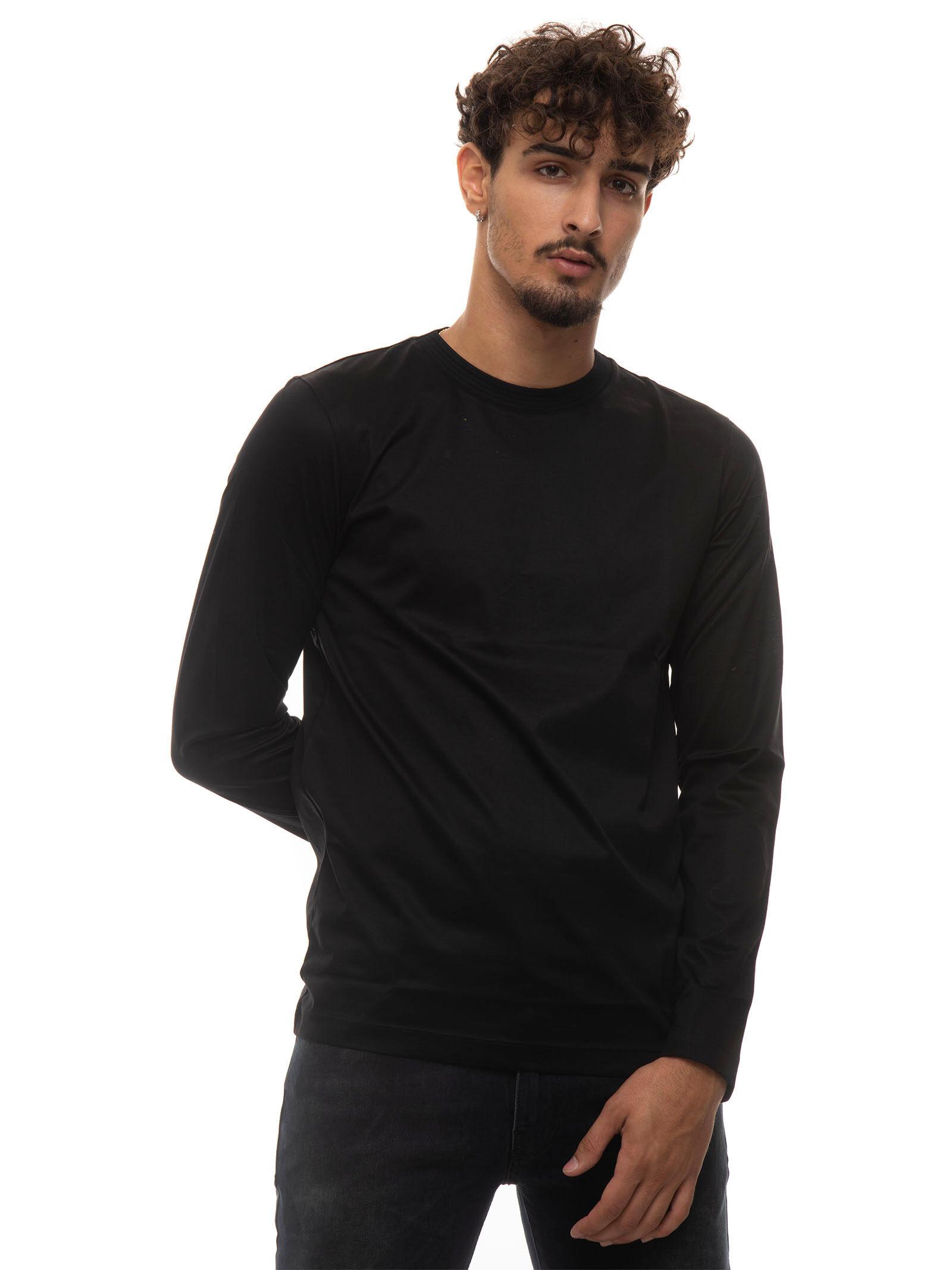 Boss T-shirt manica lunga girocollo TENISON Nero Cotone Uomo