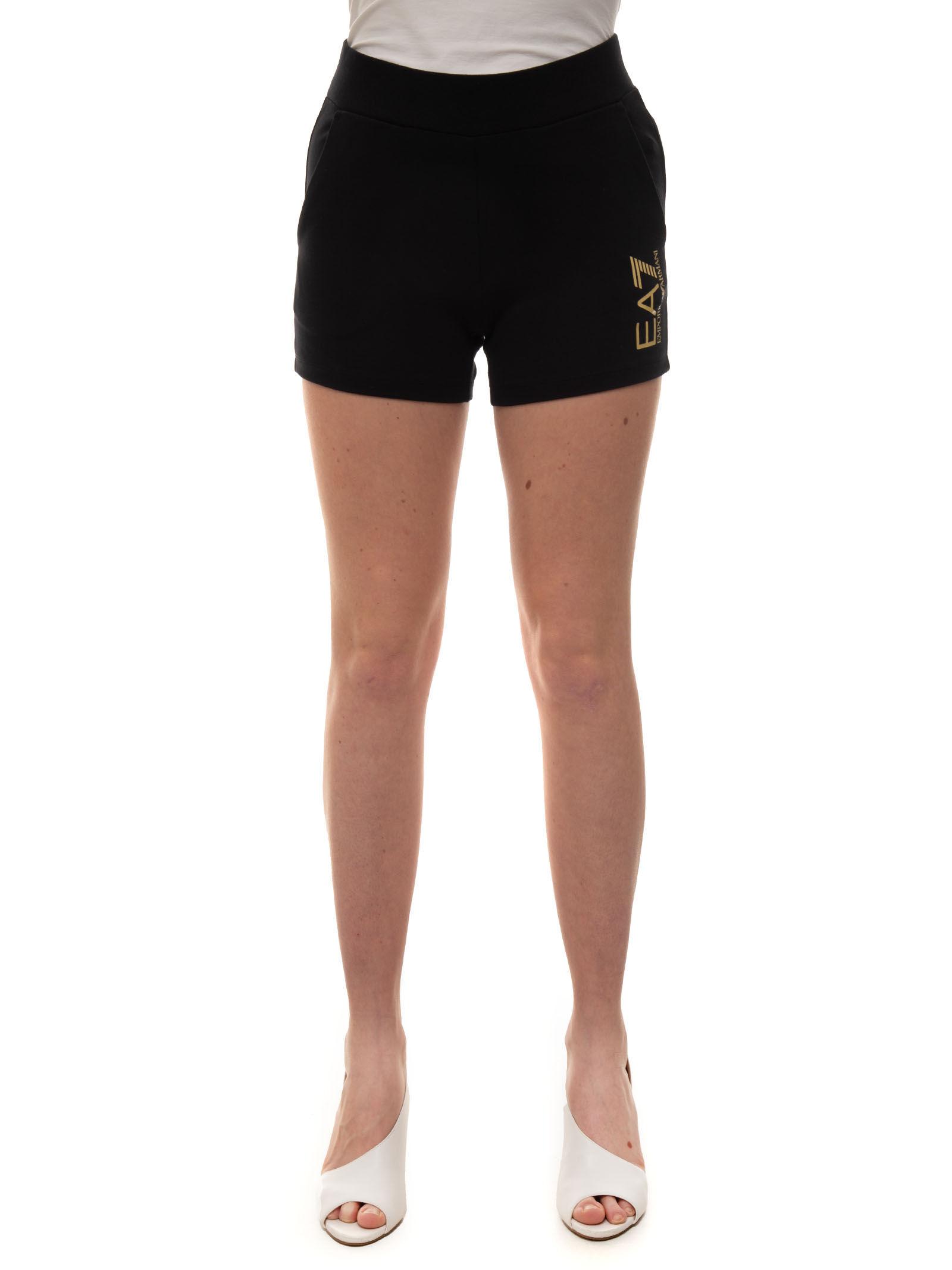 EA7 Shorts in felpa Nero Cotone Donna