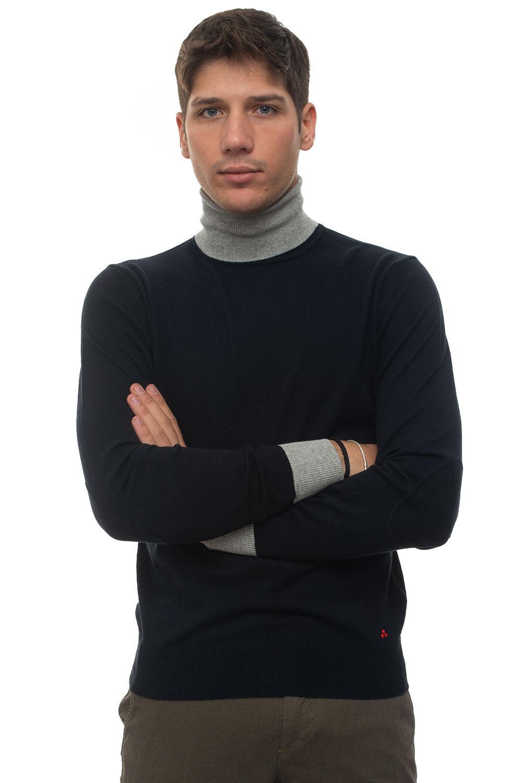 Peuterey Pullover collo alto Gorran Blu Cotone Uomo