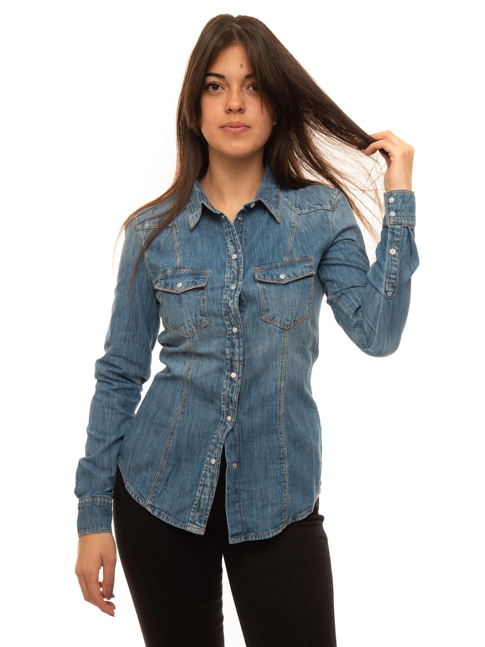 Guess Camicia da donna in jeans Denim medio Cotone Donna