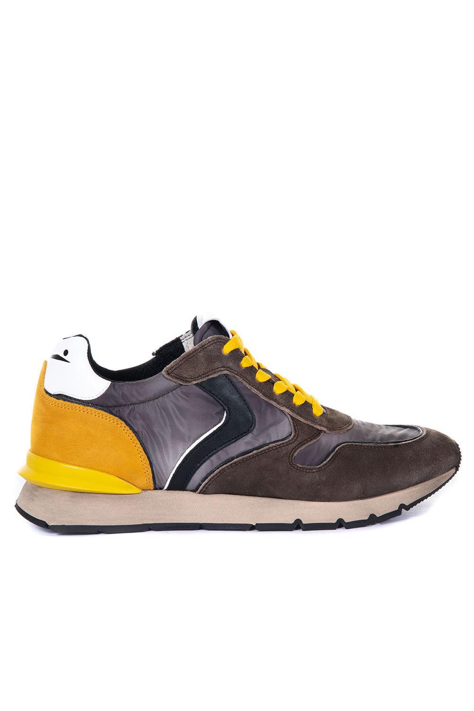 Voile Blanche Sneakers con lacci LIAM RACE Marrone/giallo Pelle Uomo
