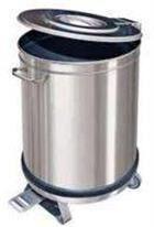 Pattumiera Inox AISI 304 con coperchio + Pedale 100 litri (PTM100P)