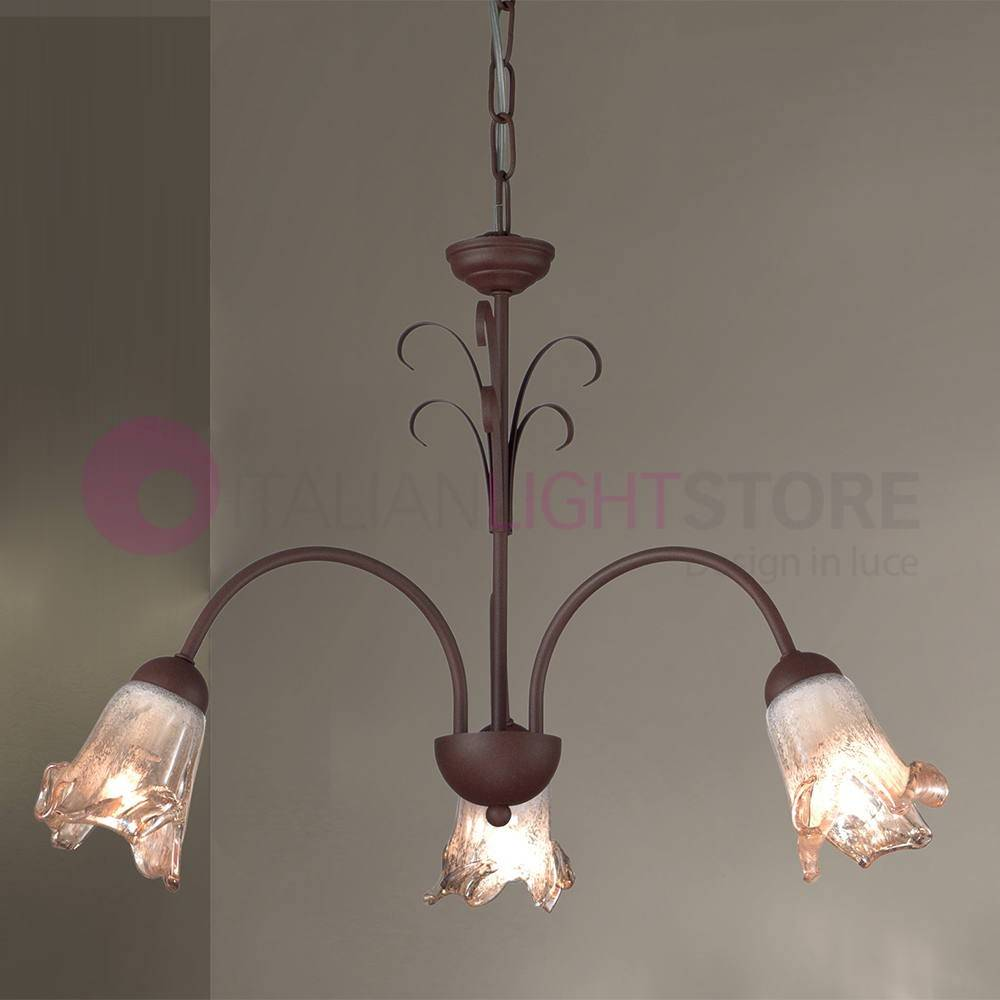 Due P Illuminazione Amelia Lampadario 3 Luci Colore Ruggine Stile Classico