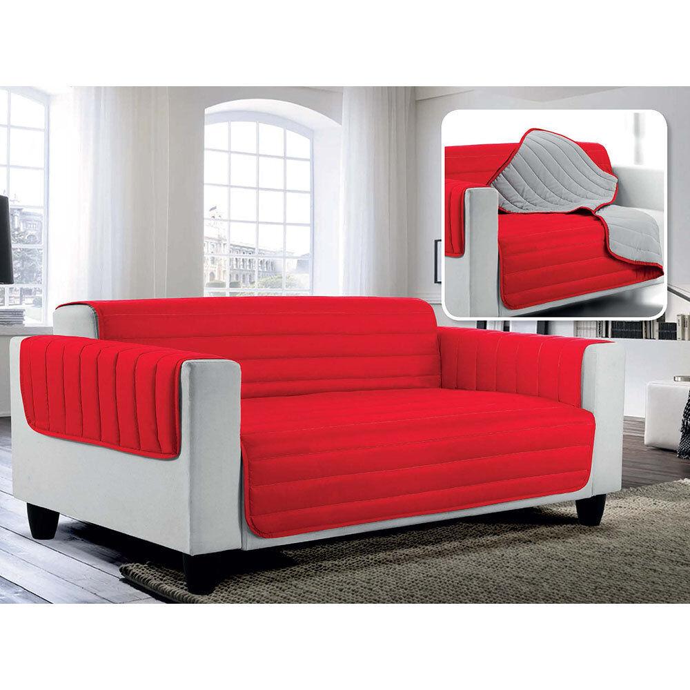 Arreda il tuo divano - 2019 Copridivano trapuntato doubleface Elegant,rosso/grigio chiaro